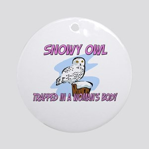 Snowy Owl Trapped In A Woman's Body Ornament (Roun