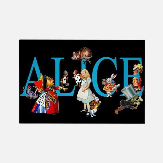 Alice in Black Rectangle Magnet