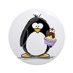 Ice Cream Sundae Penguin Ornament (Round)