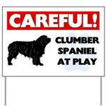 Clumber Spaniel At Play Yard Sign