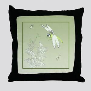 Green Dragonflies and Plants  Throw Pillow