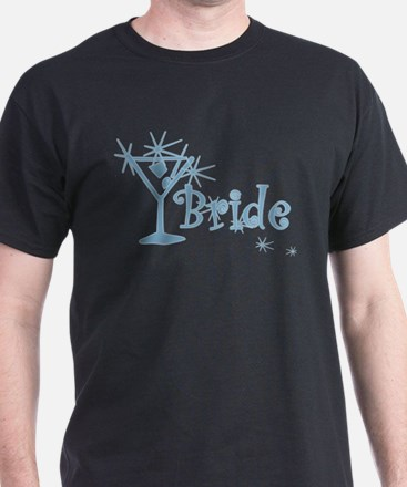 Blue Curly Martini Bride T-Shirt