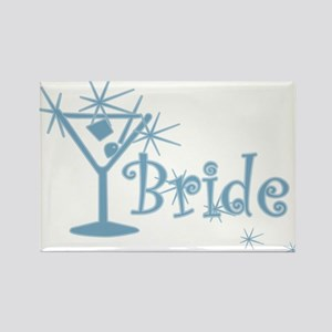 Blue Curly Martini Bride Rectangle Magnet