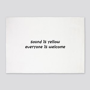 sound is yellow everyone is welcome 5'x7'Area Rug