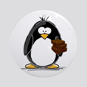 Chocolate Brownie Penguin Ornament (Round)