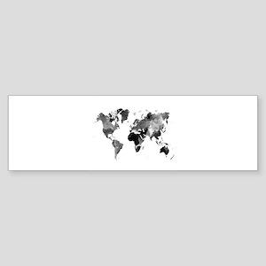 Design 42 World Map Grey Scale Bumper Sticker