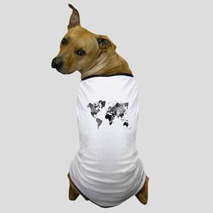 Design 42 World Map Grey Scale Dog T-Shirt