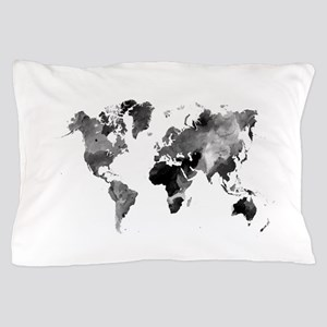 Design 42 World Map Grey Scale Pillow Case