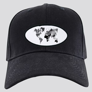 Design 42 World Map Grey Scal Black Cap with Patch