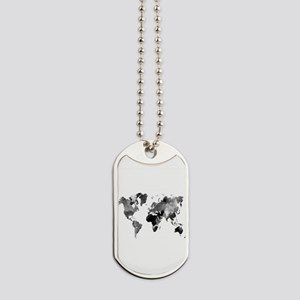 Design 42 World Map Grey Scale Dog Tags