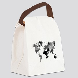 Design 42 World Map Grey Scale Canvas Lunch Bag