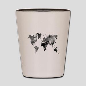Design 42 World Map Grey Scale Shot Glass