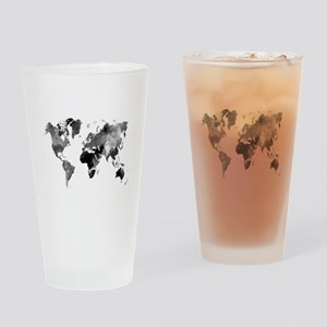 Design 42 World Map Grey Scale Drinking Glass