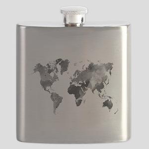 Design 42 World Map Grey Scale Flask
