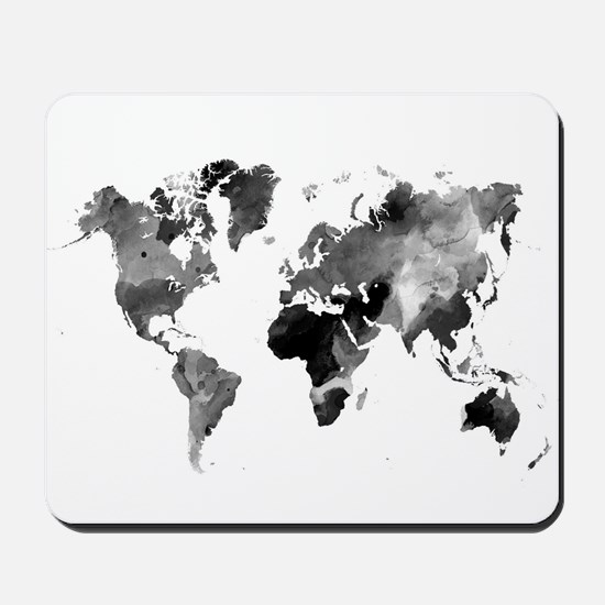 Design 42 World Map Grey Scale Mousepad