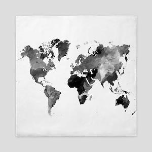 Design 42 World Map Grey Scale Queen Duvet