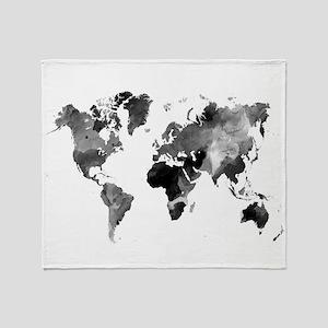 Design 42 World Map Grey Scale Throw Blanket