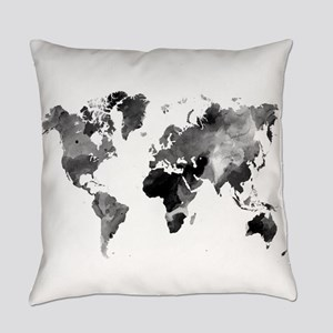 Design 42 World Map Grey Scale Everyday Pillow