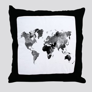 Design 42 World Map Grey Scale Throw Pillow