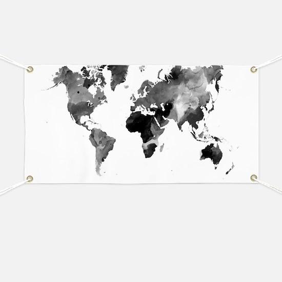 Design 42 World Map Grey Scale Banner