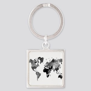 Design 42 World Map Grey Scale Keychains