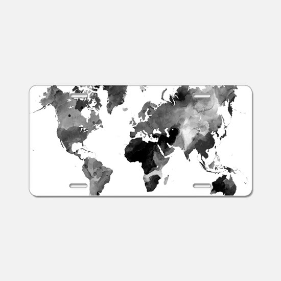 Design 42 World Map Grey Sc Aluminum License Plate