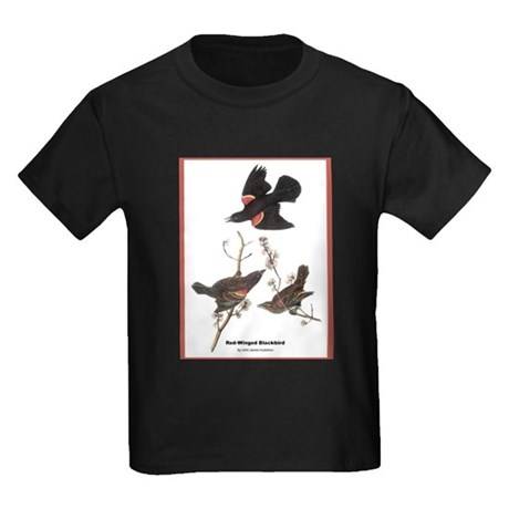 Audubon Red-Winged Blackbird (Front) Kids Dark T-S