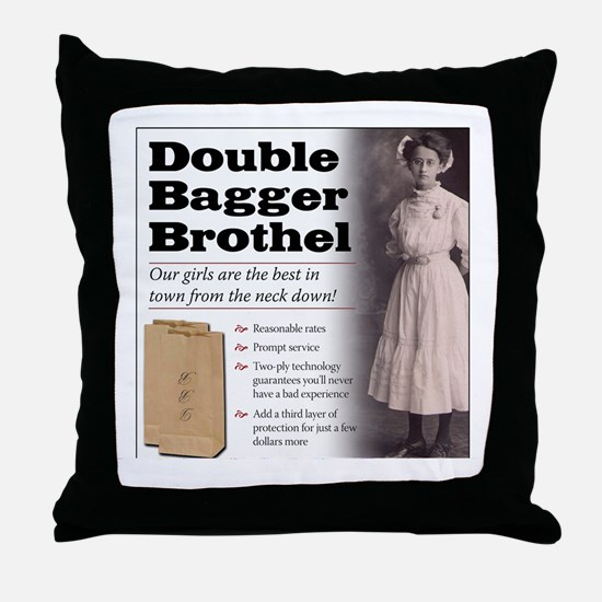 Double Bagger Brothel Throw Pillow