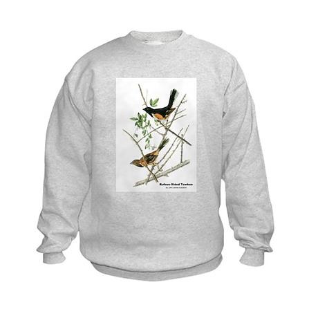 Audubon Towhee Bird (Front) Kids Sweatshirt