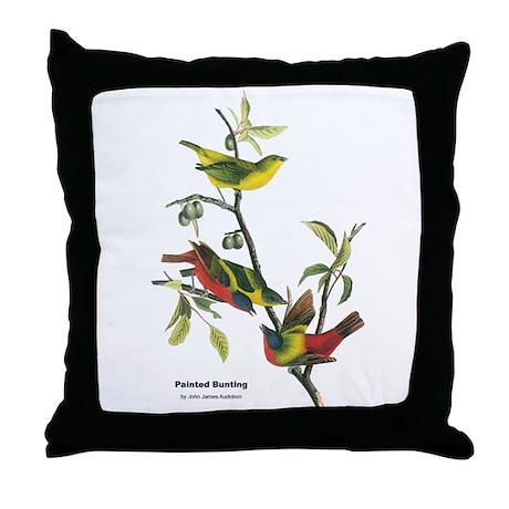 Audubon Painted Bunting Bird Throw Pillow
