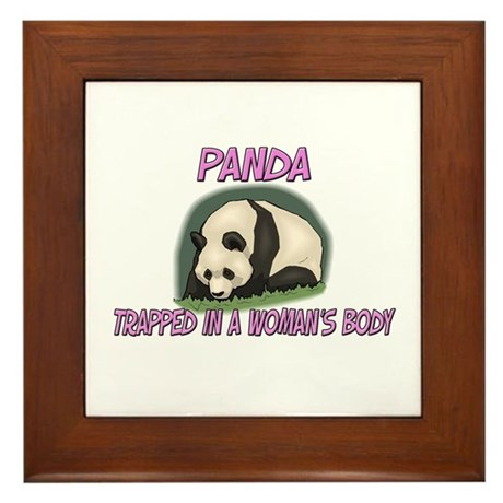 Panda Trapped In A Woman's Body Framed Tile