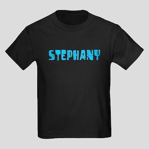 Stephany Faded (Blue) Kids Dark T-Shirt