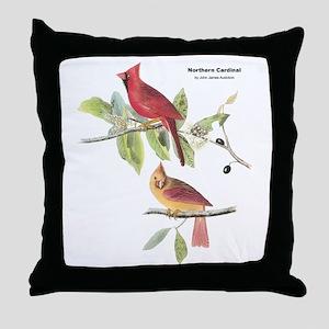 Audubon Northern Cardinal Bird Throw Pillow