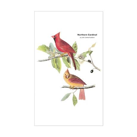Audubon Northern Cardinal Bird Rectangle Sticker