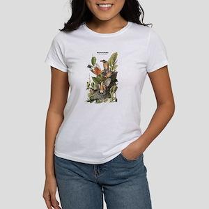 Audubon American Robin Birds (Front) Women's T-Shi