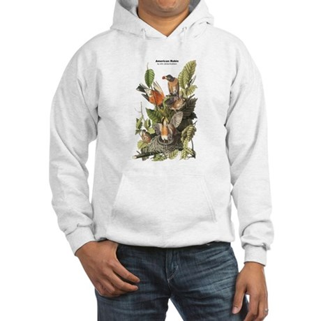Audubon American Robin Birds (Front) Hooded Sweats