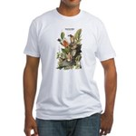 Audubon American Robin Birds (Front) Fitted T-Shir