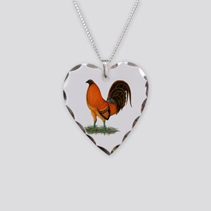 Gamecock Ginger Red Rooster Necklace Heart Charm