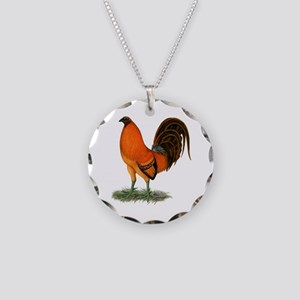 Gamecock Ginger Red Rooster Necklace Circle Charm