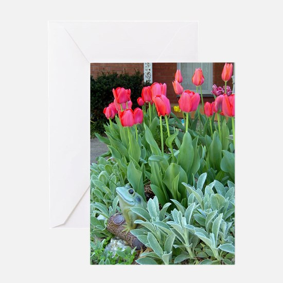 Frog and Red Tulips: Greeting Ca