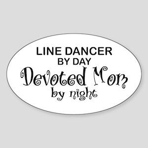Line Dancer Devoted Mom Oval Sticker