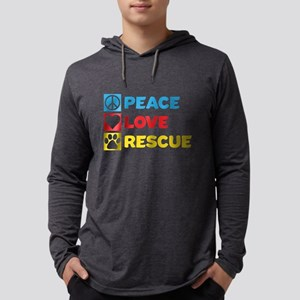 Peace.Love.Rescue. Mens Hooded Shirt