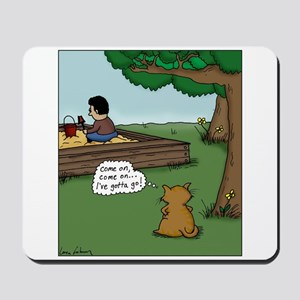 Cat Waiting to Use Sandbox Cartoon Mousepad