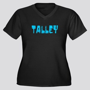 Talley Faded (Blue) Women's Plus Size V-Neck Dark