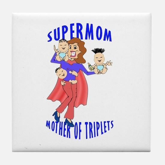 SuperMom_Triplets Tile Coaster