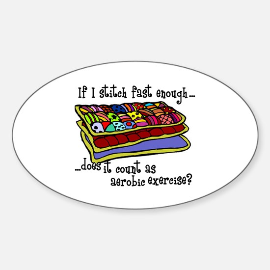 Quilting Aerobics Oval Stickers