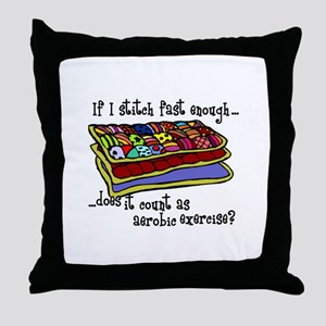 Quilting Aerobics Throw Pillow