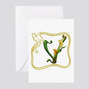 """V"" in White Greeting Cards (Pk of 10)"
