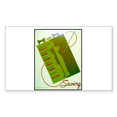 Vintage Sewing WPA Poster Rectangle Decal