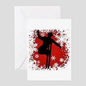 SKI JUMP (RED) Greeting Card